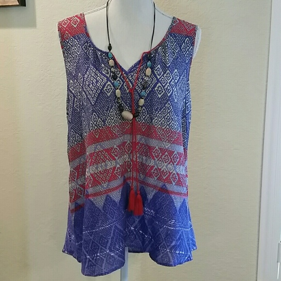 b965e8bdfb beachlunchlounge Tops | Beach Lunch Lounge Tunic Top Print Tassels ...